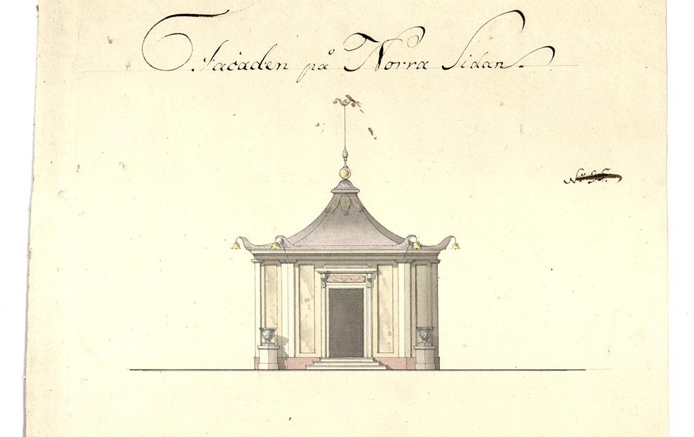 Ritning till kinesiskt lusthus vid Barnängen, 1791.