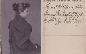 Profilbild av kvinna ur Stockholmspolisens samling med signalementsfotografier