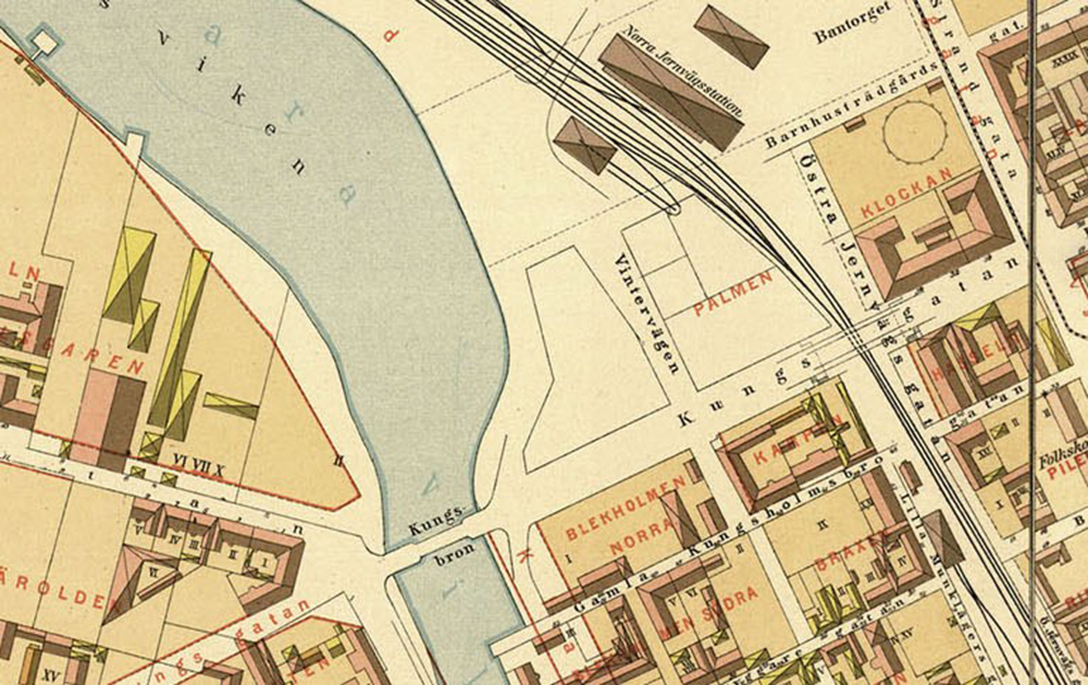 Detalj från Lundgrens karta 1885.