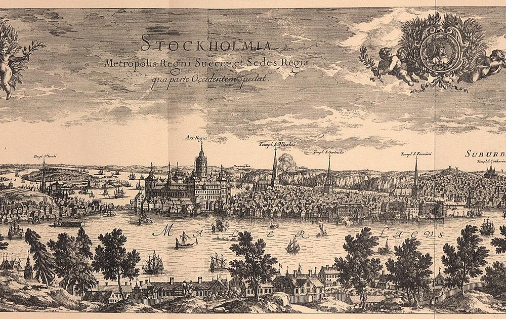 Gamla stan sett från Marieberg. Detalj ur Suecia antiqua et hodierna 1698-1701.