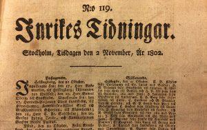 Första sidan av Inrikes Tidningar 1802.