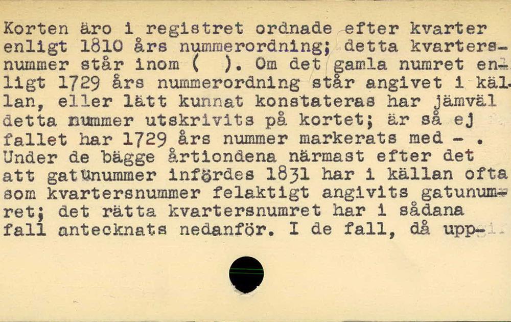 Ett av de förklarande korten i registter till bygglovshandlingar 1713-1874.