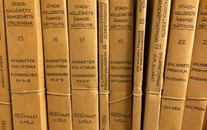 Stadskollegiets äganderättsutredningar i arkivet.
