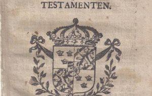 Detalj från framsida till Stadga och förordning angående testamenten 1686.