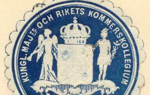 Färgbild av Kommerskollegiets sigill i blått och vitt från 1932.