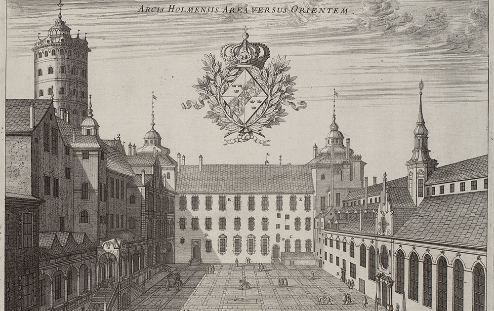 Slottet Tre Kronor. Kopparstick ur Suecia Antiqua et Hodierna.