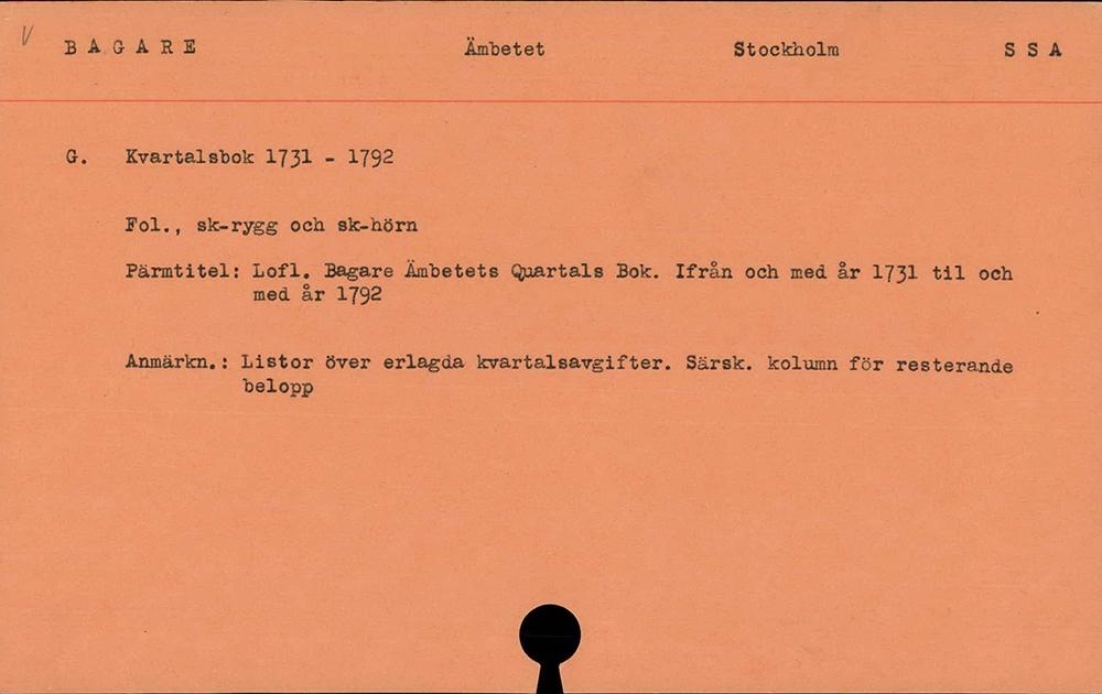 Exempel på kort ur registret över gamla skråarkiv i Sverige.