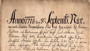 Bouppteckning efter Amalia Lemke, 1718.
