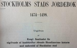 Detalj av titelsidan till den tryckta Stockholms stads jordebok 1474-1498.