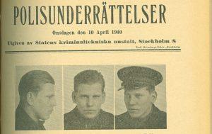 Första sidan ur tidningen Polisunderrättelser, nr 10 år 1940.