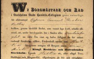 Burskapsbrev för vinskänk 1849.
