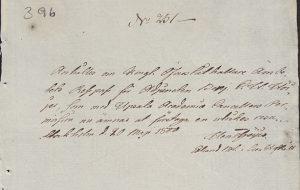 Passhandling nr 231 år 1800.