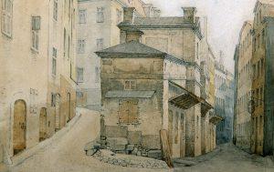 Vid Österlånggatan 1864. Blyerts och akvarell av G. W. Palm.