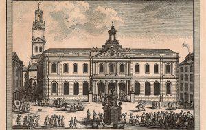 Stockholms börs. Kopparstick av Johan Snack 1782.