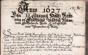 Första sidan ur Stockholms tänkebok 1627 i original.