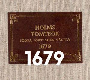 Titel från låda till Holms tomtbok 1679