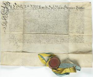 Privilegiebrev med sigill undertecknat av Drottning Kristina